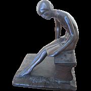 Robert Garrett Thew Art Deco Bronze Female Sitting Nude Sculpture w/Book c1929