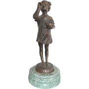 Sweet Girl Blowing Bubbles Art Deco Bronze Sculpture After Suzanne Bizard