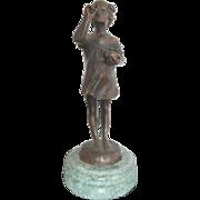 Sweet Girl Blowing Bubbles Art Deco Bronze Sculpture After Suzanne Bizard