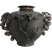 Antique Bronze Japanese Meiji Era Grape Vine Leaves Large Vase