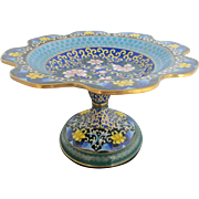 Vintage Asian Cloisonne Cobalt & Turquoise Blue Enamel Blossom Tazza Dish