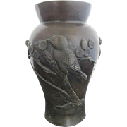 Vintage Chinese Asian Flower BRONZE Vase w/BIRD Blossom & Bamboo Design