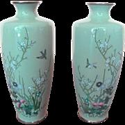Vintage Japanese Sage Green Blossom & Bird Cloisonne Metal Vase Set