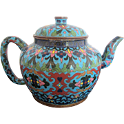 Antique 19th Century Chinese Enamel Cloisonne Turquoise Heavy Metal Teapot