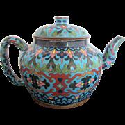 Antique 19th Century Chinese Enamel Cloisonne Turquoise Heavy Metal Teapot