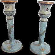 Vintage Turquoise CHINESE Enamel CLOISONNE Dragon Design Metal Candlesticks