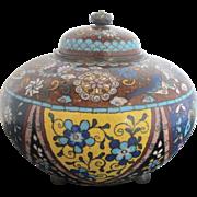 Japanese Antique Mica Enamel Cloisonne Butterfly Phonenix & Blossom Bowl w/Lid