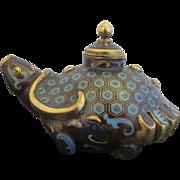 Antique Chinese CLOISONNE Metal Incense Burner Censer TURTLE Bottle Jar w/Lid