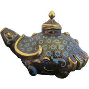 Antique Chinese CLOISONNE Metal Incense Burner Censer TURTLE Bottle Jar w/Lid