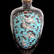 Antique Japanese Black Enamel Mica Cloisonne Crane Dragon Blossom Design Vase