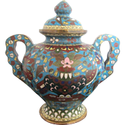 Turquoise Blue Enamel Cloisonne Signed Chinese Covered Jar Bowl w/Lid & Handles