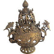 Large Ornate Bronze Tibetan Spiritual Buddhist Incense Burner Alter Censer