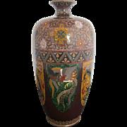 Antique Japanese Cloisonne Enamel & Mica Dragon & Phoenix Baluster Cabinet Vase