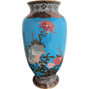 Large Antique Japanese Cloisonne Enamel Hawk Bird Cherry Blossom Ground Vase 15""