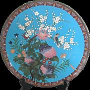 Vintage Japanese Enamel Cloisonne Charger Plate w/Hydrangea Blossoms & Bird