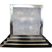 LALIQUE Masque de Femme Large CRYSTAL Mermaid Fish Art Deco Glass Panel