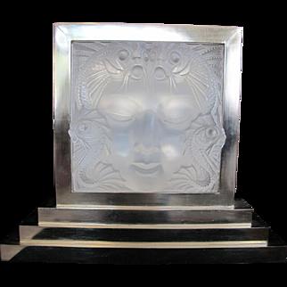 LALIQUE Masque de Femme Large CRYSTAL Mermaid Fish Art Deco Glass Panel