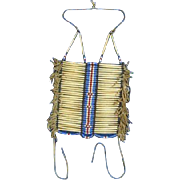 Native American Multi-Color Beaded & Leather Fringe Vintage Breast Plate