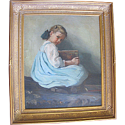 Original Anna Milo Upjohn Oil Painting Portrait of Young Girl Holding Book
