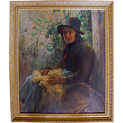 Original Anna Milo Upjohn Oil Painting Portrait of PEASANT Woman in Ornate Frame