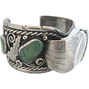 Sterling Silver & Turquoise Native American Chunky Cuff Bracelet Wrist Watch