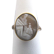 VICTORIAN Vintage 14k Yellow Gold REBECCA at the WELL Cameo Ring Size 9