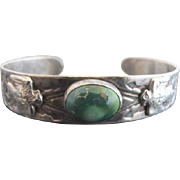 Sterling Silver & Turquoise Native American Thunderbird Engraved Cuff Bracelet