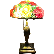 Pairpoint Reverse Painted Puffy Floral Boudoir Art Deco Heart Leaf Design Lamp