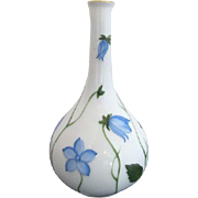Very Sweet HEREND Hand Painted BLUE Floral Design Small FLOWER Bud Vase