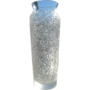 LALIQUE France Etched Flower BOUGAINVILLIERS Clear & Frosted Crystal Glass Vase
