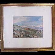 Sir MUIRHEAD BONE Signed Watercolor Painting Sierra Nevada As Seen From ALHAMBRA