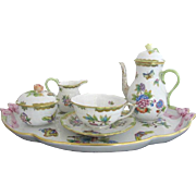 HEREND Breakfast in Bed QUEEN VICTORIA 6pc Tea Pot Sugar Cream Tray Serving Set