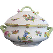 Large HEREND Butterfly Floral QUEEN VICTORIA Soup Serving Tureen Bowl w/Lid