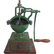 Antique PEUGOT Freres A2 French GREEN Large CAST IRON Coffee Grinder Mill