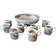 TALLY HO View Halloo Johnson Bros FOX HUNT 9pc Stirrup Drink Cup Punch Bowl Set