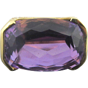 Large Cushion Cut AMETHYST 14k Gold Cocktail Statement Ring w/74 Diamonds