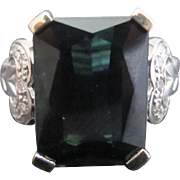 Dark Green Emerald Cut TOURMALINE & Diamonds 14k Gold Bow Filigree Cocktail Ring