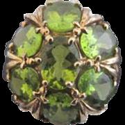 Vintage 10k Gold Green PERIDOT Starburst Flower Cluster Filigree Cocktail Ring