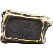 MODERNIST 14k Yellow Gold Nugget & SLATE Stone Chunky Vintage UNIQUE Statement Ring