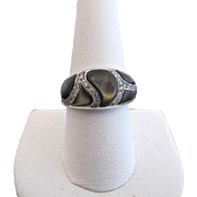 KABANA 14k White Gold Black MOP Diamond Inlay Designer Ring