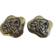 CLIFTON NICHOLSON Sterling Silver Bronze TIGER Animal Clip-On Modernist Earrings