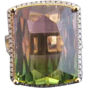 Large 18k Yellow Gold Emerald Cut Watermelon Tourmaline & Pave Diamond  Cocktail Statement Ring