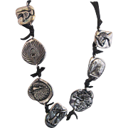 Clifton NICHOLSON Sterling Silver Multi-Charm Modernist Art Leather Cord Necklace w/Peacocks Tigers & Flowers