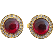 CHANEL Paris Red Glass Gold Tone RHINESTONE Clip-On Post Earrings Original Box