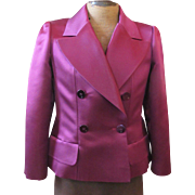 Purple SILK Satin CHANEL Classic Blazer Jacket 42 w/Hanger