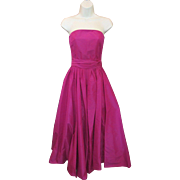 Vintage Ralph LAUREN Hot Bright Pink SILK Strapless Party Evening Fit & Flare Full Skirt Dress