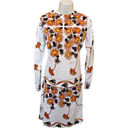 Vintage Mod 60's Designer PAOLA DAVITTI Pop Art Flower Dress Skirt & Shirt 2pc Set