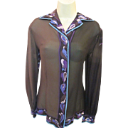 Vintage EMILIO PUCCI Saks Fifth Ave Sheer Signed SILK Op Art Button-up Shirt