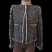 NWT Black & White Silk Ribbon Knit OSCAR de la RENTA Classic Blazer Jacket M