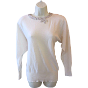 Vintage 80's GLORIA SACHS White 100% Cashmere Star Sequin Sweater S